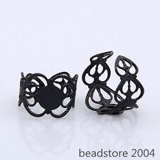 15x Black Color Adjustable Brass Filigree Finger Ring Finding Pad Ring Base 20mm