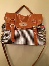 Street LevelBlack/Ivory Stripe Purse Brown Leather Strap Crossbody Shoulder Bag