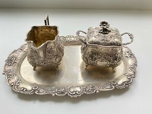 Milch & Zucker Set auf Tablett 800er Silber - Barockstil