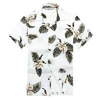 Men Aloha Shirt Cruise Tropical Luau Beach Hawaiian Hawaii Casual Lily Palm Olul