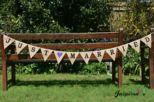Hessian Just Married Flag Bunting Black Letters Purple Heart Burlap Wedding