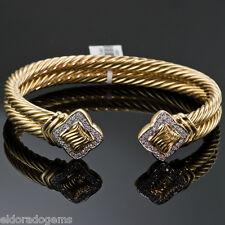 DAVID YURMAN 18K YELLOW GOLD 10 MM DIAMOND CABLE CUFF BANGLE BRACELET LARGE