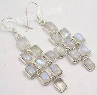 "925 Pure Silver RAINBOW MOONSTONE MAT STYLE LONG BESTSELLER Earrings 2.2"" NEW"