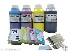 Refillable Pigment ink cartridge HP 940 XL Pro 8500A Premium with chip + 4x250ml