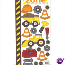 CONSTRUCTION Embossed Scrapbook Stickers and Border