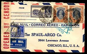 INDIA 1941 AIR MAIL CENSORED COVER TO  USA.FLOWER BAZAR CDS.SCARCE.  A114