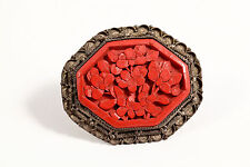 Antique Carved Cinnabar Red Lacquer Brooch Silver Filigree Early Chinese Export