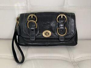 COACH LEGACY GARCIA Leather 2 Buckle Turn Lock WRISTLET Handbag CLUTCH Black