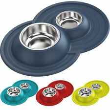 Cat Centre® Twin Bowl Tray + 2 Metal Dishes NonSlip Food Water Feeding Mat Set