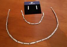 Swarovski Rhodium and Crystal Pave Bar Necklace, Bracelet & Earrings