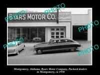 OLD POSTCARD SIZE PHOTO OF MONTGOMERY ALABAMA THE BYARS MOTOR Co PACKARD c1950