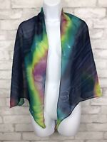 "Scarf Shawl  60x19""  Hand Painted Polyester Blue Tie-dye One Size"