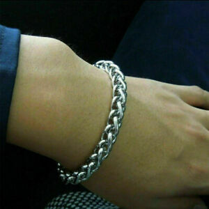 Men's Silver Stainless Steel Chain Link Bracelet Wristband Cuff Bangle Jewelry