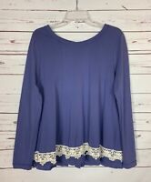 Altar'd State Women's L Large Blue Purple Ivory Lace Long Sleeve Fall Top Shirt