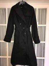 14 Long Trench Coat Rain Winter Zip Out Lining Black Vtg Style, Military Uniform