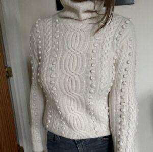 Foilio New York 100% Cashmere Pom Pom Sweater