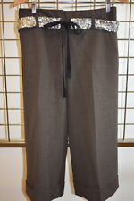 ROBERT RODRIGUEZ Brown Capri Beaded Women's Pants Size 4 On Sale ns