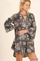 New Women's UMGEE Floral Bohemian Boho Bell Sleeve Flowy Tunic Top Dress Gray