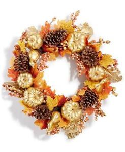 "Martha Stewart Harvest Gilded Pumpkin Artificial Wreath 24"" DIA."