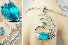 GirlZ! Habors 18K White Gold Plated Blue Austrian Crystal Peacock Pendant