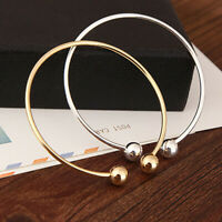 Open Cuffs Bangle Bracelet Screw-end Ball For Women Charms Silver Gold Jewelry