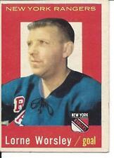 "1959-60 Topps Lorne ""Gump"" Worsley #15 Rangers - no crease"