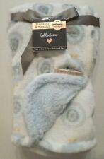 New listing Blankets & Beyond Plush Elephant/Owl Print Blanket with Sherpa White/Blue 28x32