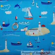 BonEful Fabric Cotton Quilt Dolphin Seagull Lighthouse Sail Boat Flag Ship SCRAP
