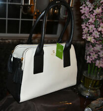 NWT Kate Spade Satchel Lydia Southport Avenue Porcelain & Black Pebbled Leather