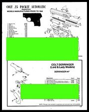 1989 COLT .25 Pocket Pistol,Derringer Lord/Lady Exploded Schematic Parts List AD