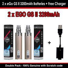 AUTHENTIC GS EGO II 2x3200mAh e cig Battery Mega Capacity Double Pack -Gold