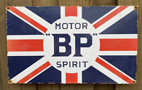 VINTAGE BRITISH PETROLEUM PORCELAIN SIGN MOTOR SPIRIT UK BP GAS PUMP PETROLIANA