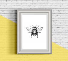 Bee botanical illustration 13x18 cm 5x7 inch 240gsm quality print