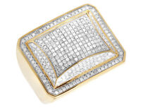 For Men's 14K Yellow Gold Over Diamond Puff Square Dome Pinky Ring 1 CT 19MM