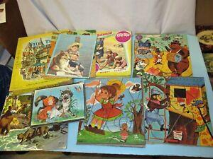 Lot Vtg 50's Wood & Cardboard Tray Puzzle Playskool Golden Book SIFO Tasha Tudor