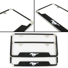 2PCS MUSTANG Chrome License Plate Frame Stainless Steel Metal Carbon Fiber Strip