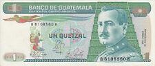Guatemala 1989 1 quetzal banknote prefix B.R Billete serie B.R