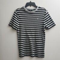 G-Star Raw Womens T-shirt Size Medium Black Gray Striped Short Sleeves NWOT