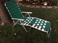 Vintage Green & White Aluminum Webbed Folding Chaise Lounge Patio Chair