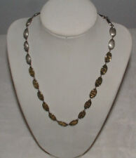 Liz Claiborne Ajustable Necklace Silver Tone & Gold Tone Oval Beads-Marked Lc
