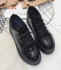 Patent Leather Womens High Wedge Heel Platform Lace Up Creepers Gothic Shoes