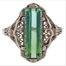 Vintage Silver Emerald Baguette Princess Retro Diamond Ring Jewelry Size 8