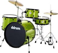 dDrum D2 Series Rock 4-piece Complete Drum Set w/ Cymbals Hardware- Lime Sparkle