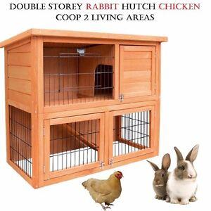 Double Storey Rabbit Hutch Chicken Coop 2 Living Areas Asphalt Roof Fir Wood