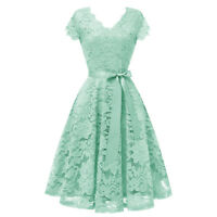 Women's Lace Bridesmaid Dress Fit and Flare Cap Sleeve Party Cocktail Dresses