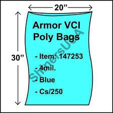 "Armor Vci Layflat Rust Prevention Poly Bags 4-Mil 20""x30"" Blue 250/cs 147253"