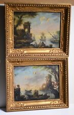 ca 1750 Old Master Pair of Capriccio Landscapes w Ruins Sea Sailing Ships