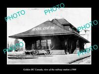 OLD LARGE HISTORIC PHOTO OF GOLDEN BC CANADA, THE RAILWAY STATION c1900