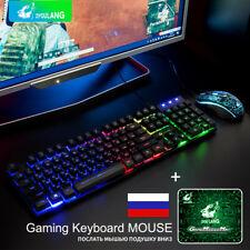 T5 Rainbow Backlight Usb Ergonomic Gaming English/Russian Keyboard + Mouse Set.