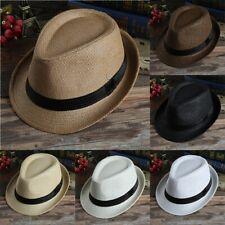 4d3658c31bf09 Unisex Men Women Hat Fedora Trilby Wide Brim Straw Cap Summer Beach Sun  Panama